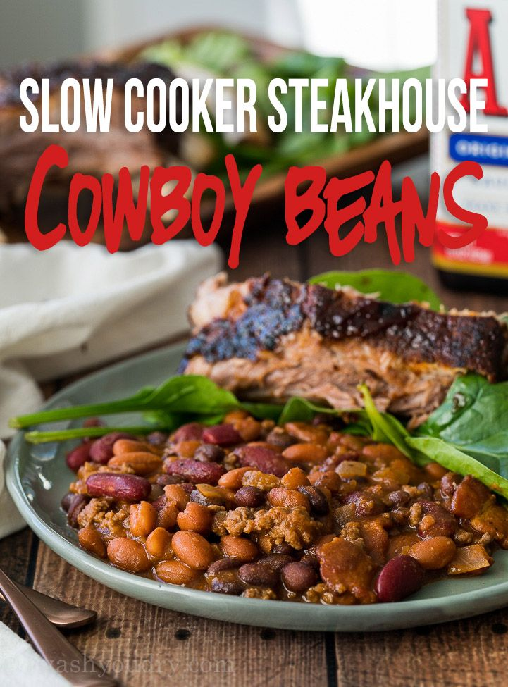 WOW! These Slow Cooker Steakhouse Cowboy Baked Beans could be a meal on their own, but make the perfect comforting side dish to any bbq feast!