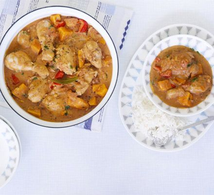 Spicy African chicken stew     Cayenne pepper and Scotch bonnet chillies give this boldly flavoured peanut casserole a fiery kick