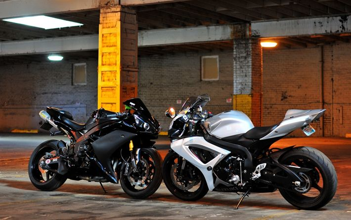 Download wallpapers suzuki gsx-r1000, yamaha yzf-r1, Sports motorcycles, parking