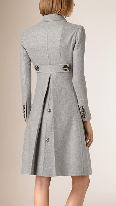 Light grey melange Tailored Double-Breasted Cashmere Coat - Image 3