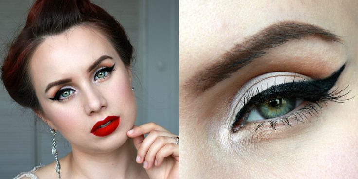 vintage inspired makeup look eyeliner red lips