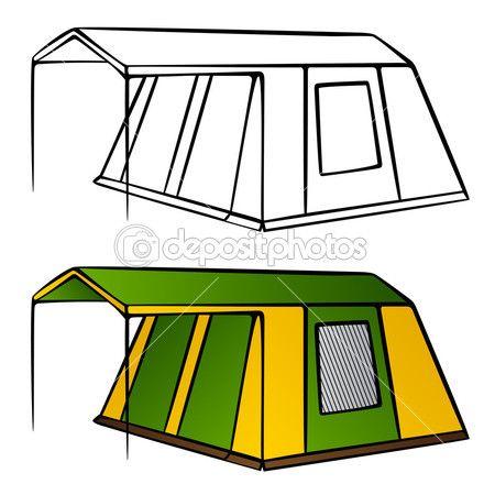 Eski aile kamp çadırı — Stok İllüstrasyon #11497181
