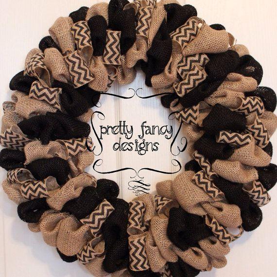 Fall Burlap Wreath in Black, Bubble Wreath, on Etsy, $58.00