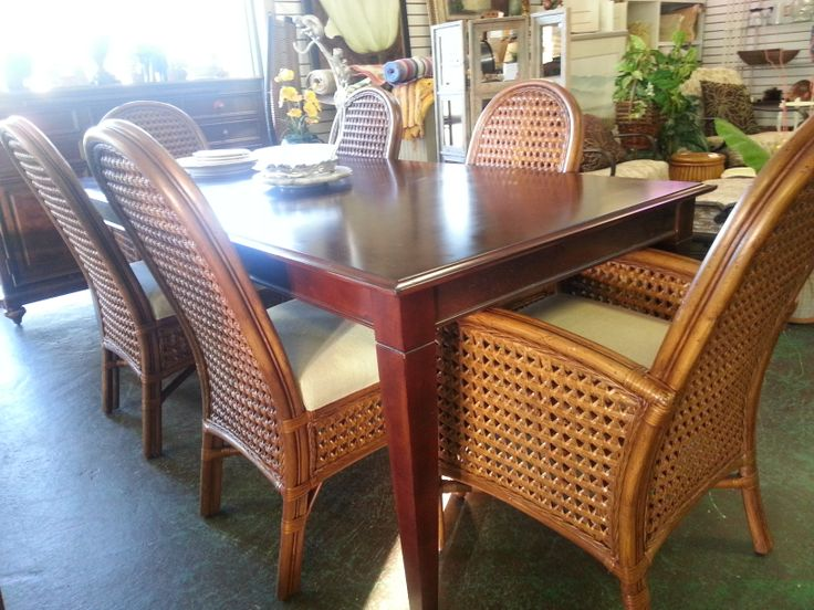 Double French Caned Rattan Dining Set Florida Orlando Consignment