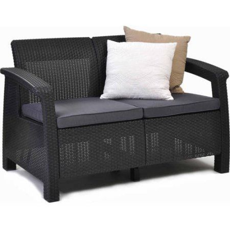 Keter Corfu Resin Love Seat with Cushions, All Weather Plastic Patio Furniture, Brown Gray Rattan