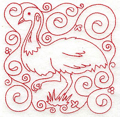 Emu | Redwork Outline Machine Embroidery Design or Pattern