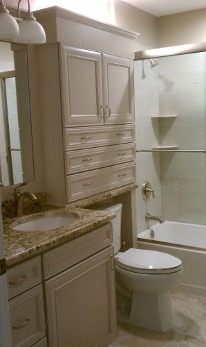Shallow cabinet above toilet…I NEED this in our master!   – Small Basement Bathroom Design