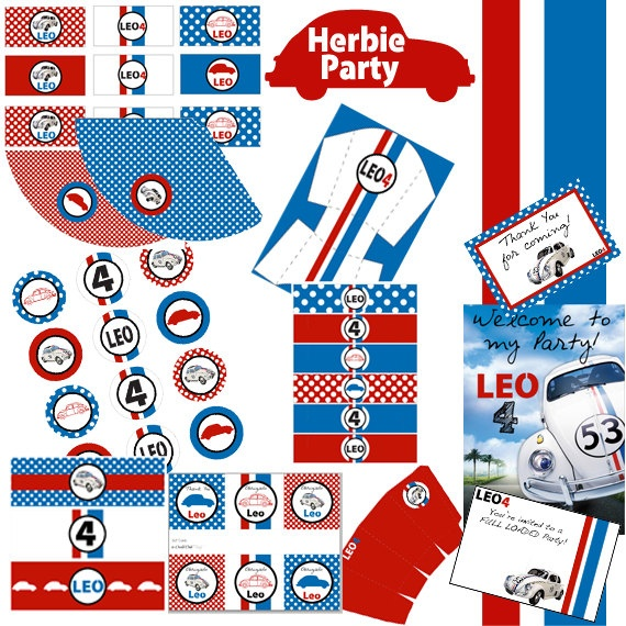 Herbie The Love Bug - Printable Party - Car Beetle Party KIT
