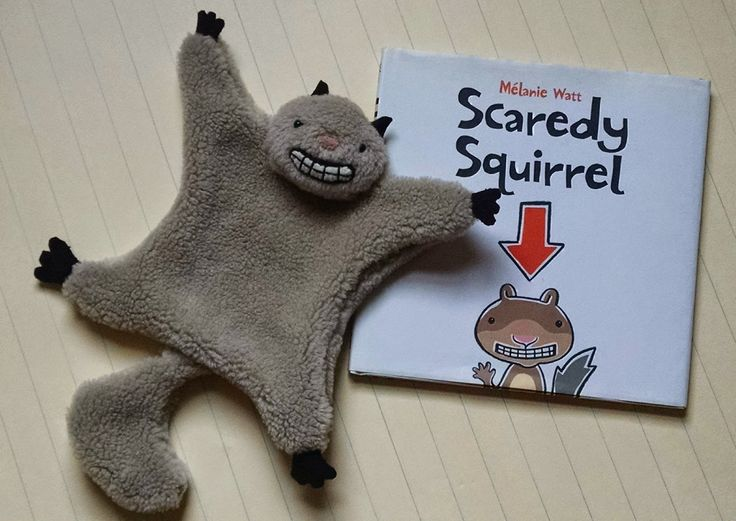 For Crafty freaks Project #6, I made this flying squirrel softie to go along with the book Scaredy Squirrel.