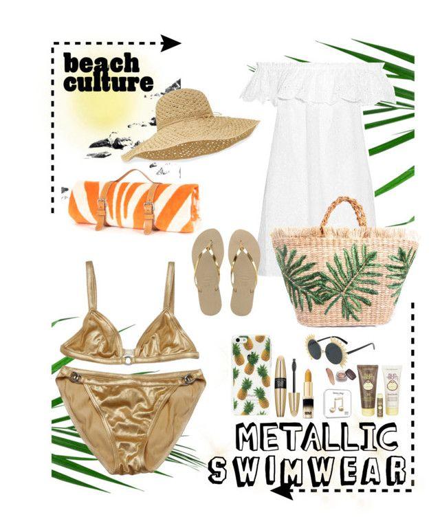 """Metallic swimwear"" by roxysbrand on Polyvore featuring moda, Victoria's Secret, Sun Bum, Tory Burch, Hermès, Havaianas, Helen Kaminski, Summer, swimwear y metallicswimwear"