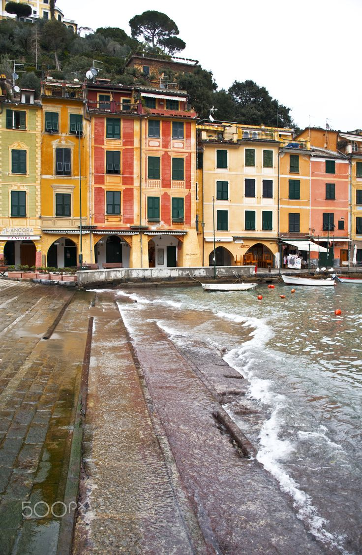 the houses of Portofino - the houses of Portofino reflect their warm and vivid colors into the harbor