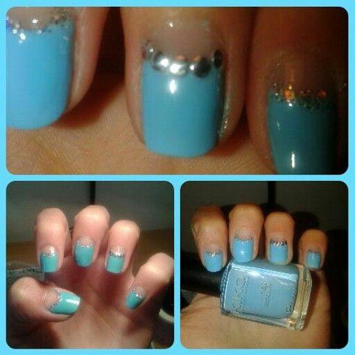 #nail #nailpolish#nailart#naildesign#unghie#mani#manicure #azzurro #borchie #kiko #brillantini #unghiechepassione