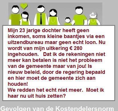 Werkgroep Lokaal Zuid Oost Groningen: STOP DE KOSTENDELERSNORM. Veel mensen moeten leven onder het bestaansminimum. Een voorbeeldje.