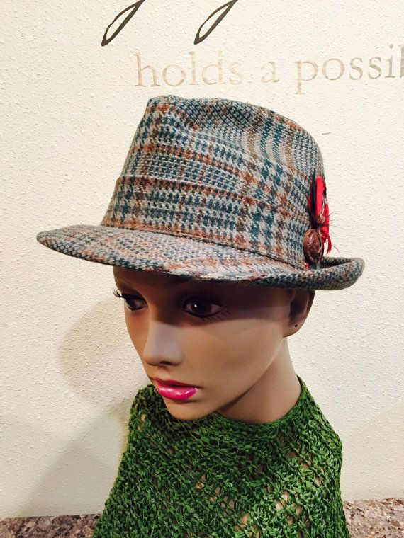 44d3cc6ac1e Fedora Hat Colorful Feather In Band Olive Green Brown Houndstooth Reemay  Lined Vintage Unisex