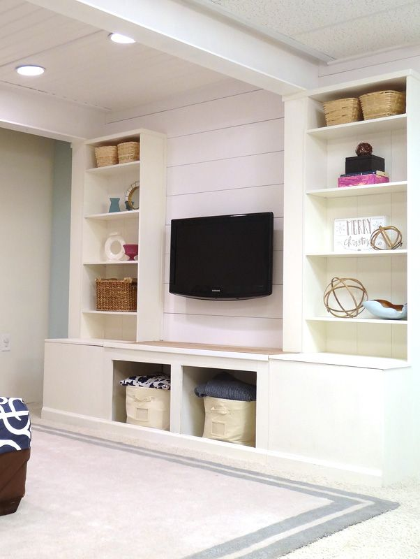 DIY Built-In Media Wall Unit with Extra Storage (From an IKEA Bookcase!) | Remodelaholic | Bloglovin'