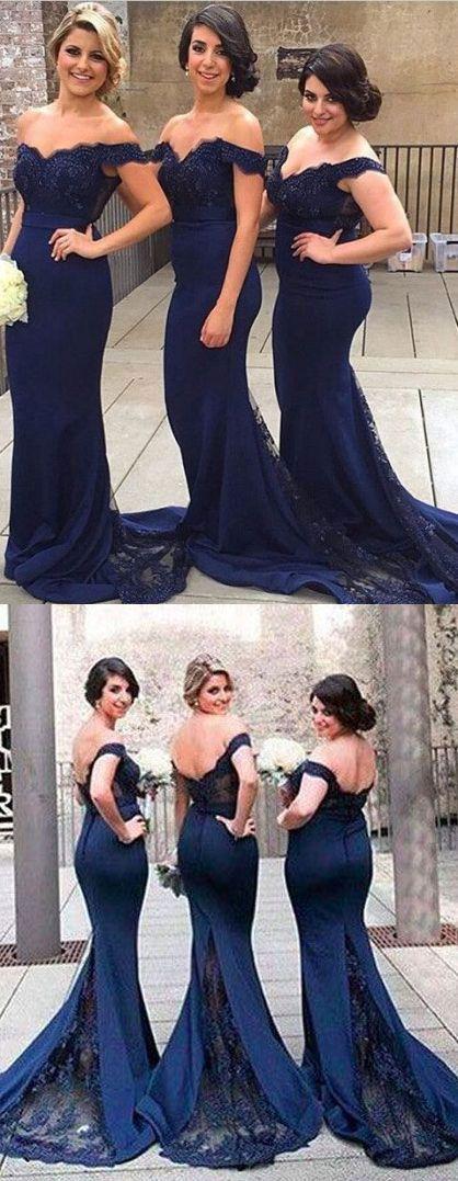 dark navy blue bridesmaid dresses, mermaid bridesmaid dresses with appliques
