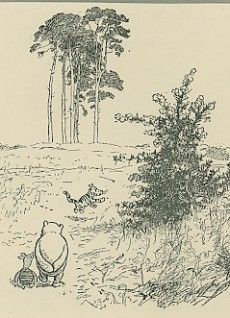 Antique print, 1930s  Pooh, Piglet and Tigger by E.H. Shepard