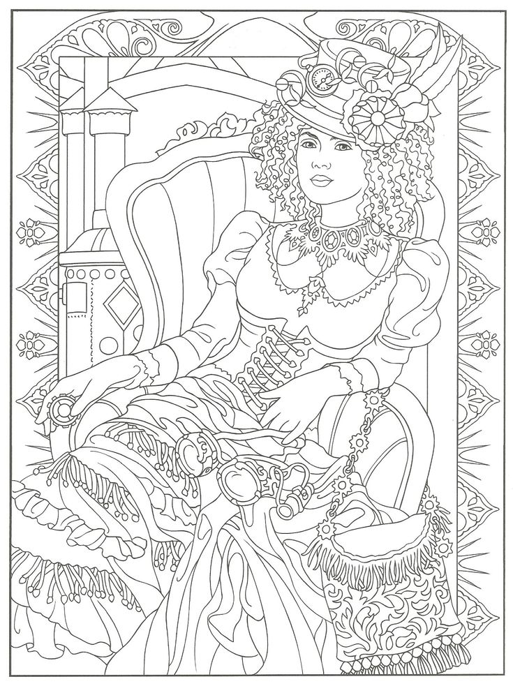 creative haven steampunk fashions coloring book dover publications davlin publishing