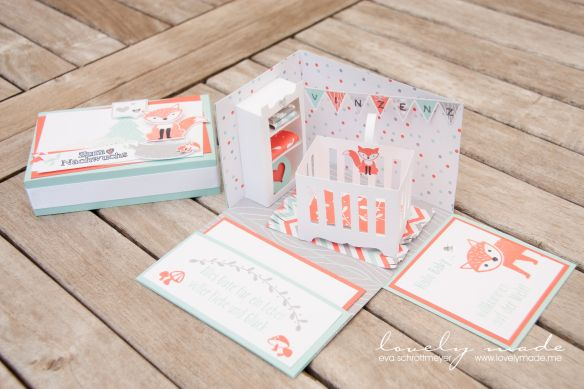 Baby foxy friends Explosion box - a beautiful baby gift using Stampin Up Foxy Friends bundle & DSP