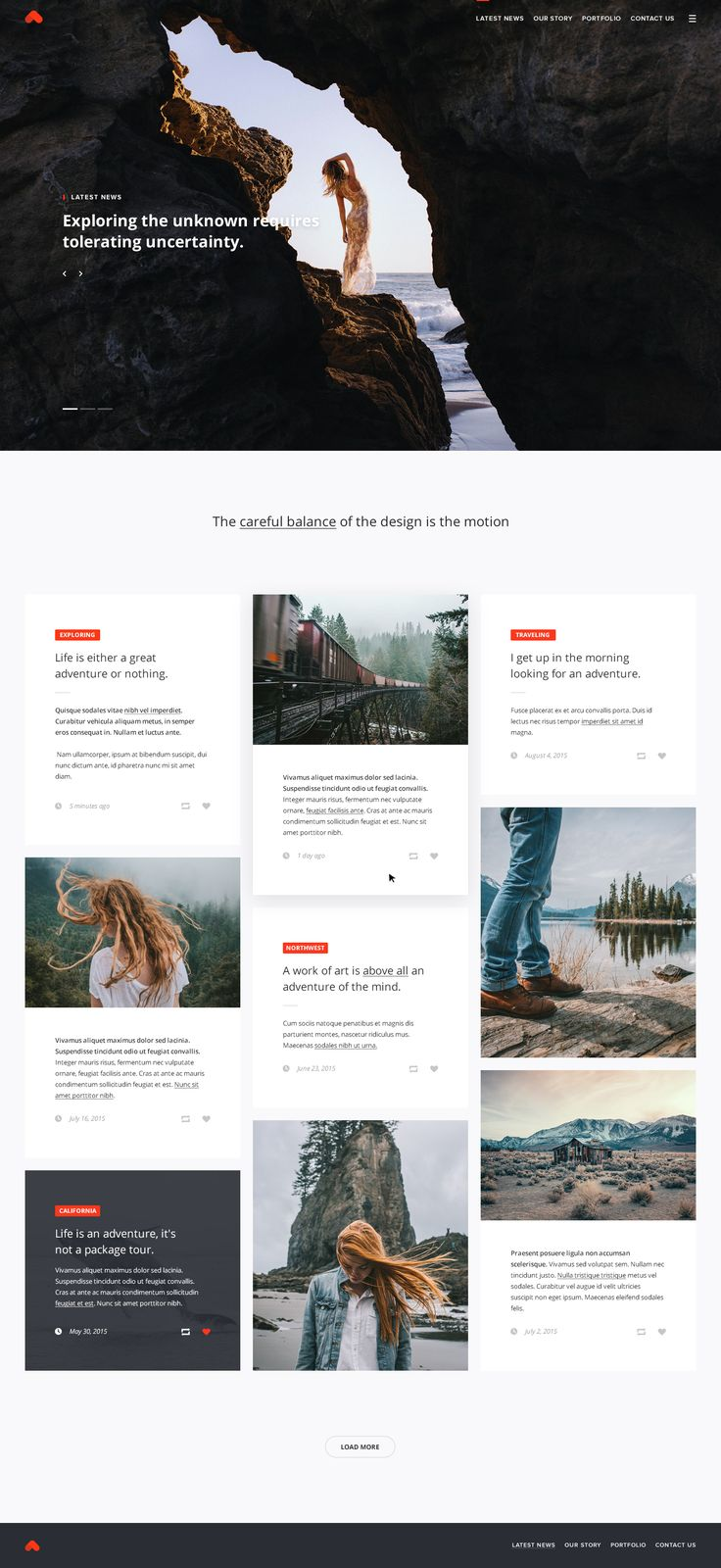 Travel blogger homepage