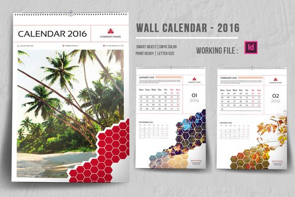 InDesign Wall Calendar 2016-V04 by Template Shop on @creativemarket