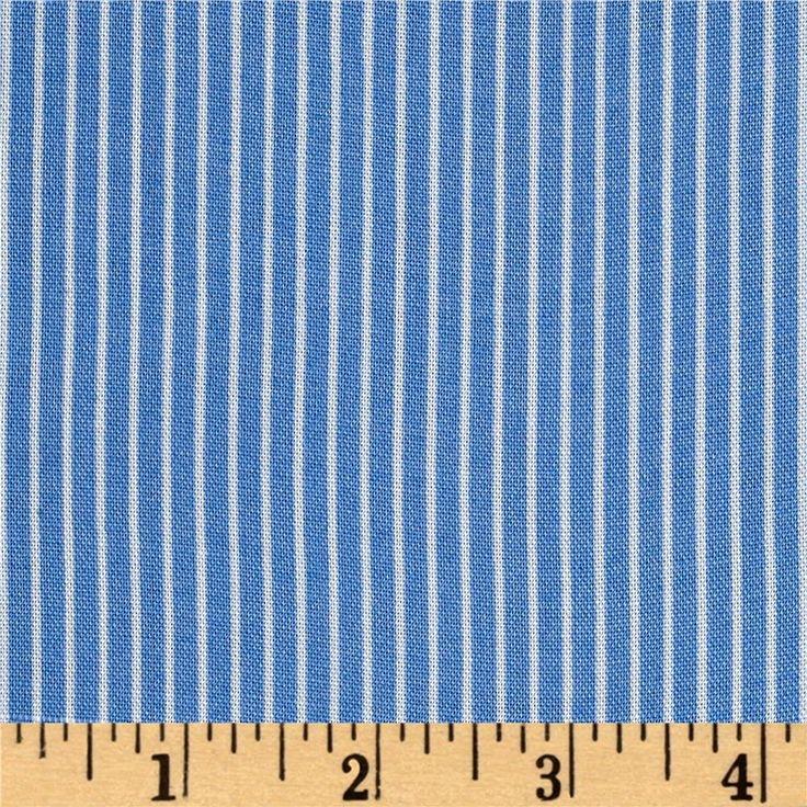 Rayon Challis Stripes Sky Blue