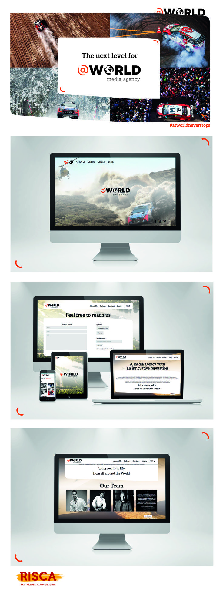 Website @World. Happily shaped by Risca. #hellorisca #@world #webdesign