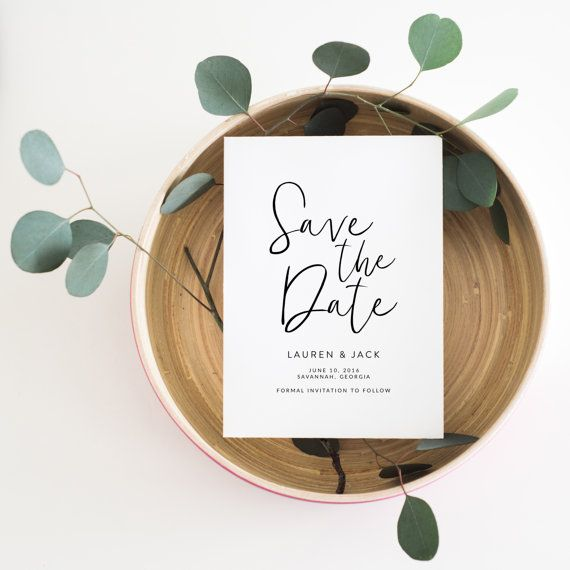 Printable Save the Date  Calligraphy Save the Date by PineNineteen