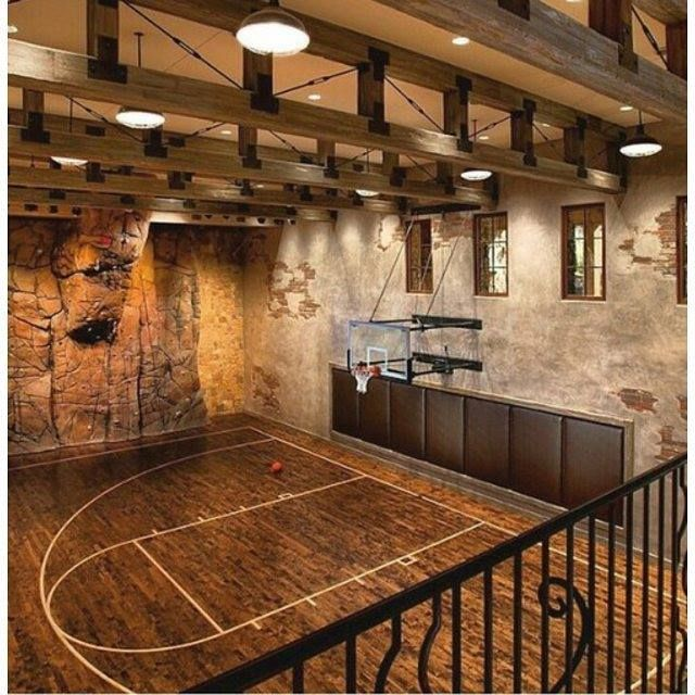 Pin by Shaun D on Basketball in cool enviornments  Home basketball court Indoor basketball