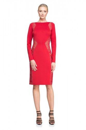 AUS16626M Sukienka wieczorowa #eveningdress #reddress #mididress #tattoodress