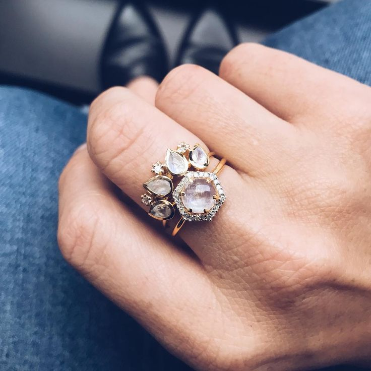 $300; This combo tho....Hexagon Moonstone and Diamond ring paired with the Horizon ring. Shop the pair at LocalEclectic.com