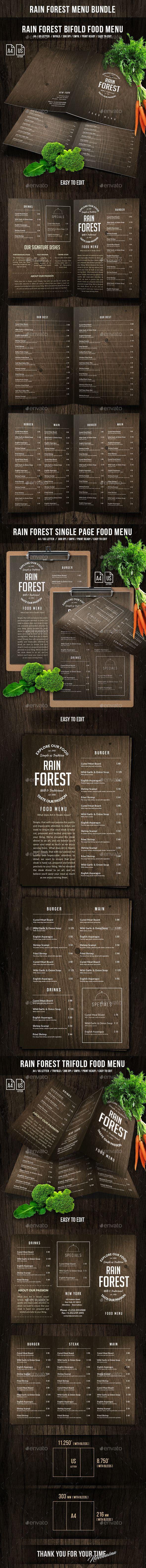 Rain Forest Menu Bundle #poster #restaurant • Download ➝ https://graphicriver.net/item/rain-forest-menu-bundle/21280902?ref=pxcr