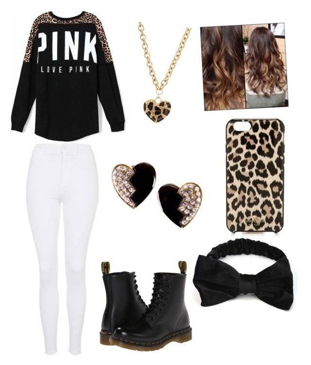 """""""""""Pink"""" cheetah outfit"""" by harrybabe219 ❤ liked on Polyvore featuring beauty, Victoria's Secret, Topshop, Dr. Martens, GUESS, Kate Spade and Yves Saint Laurent"""