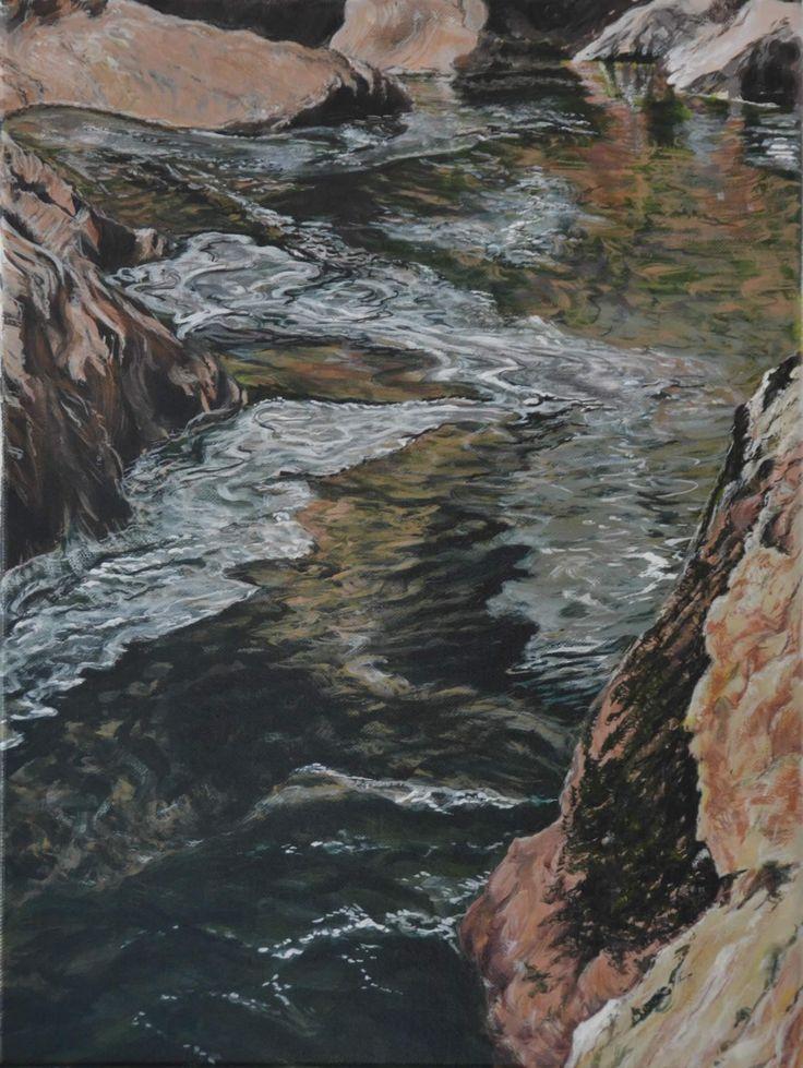 Life Blood: Tasmanian River Series – Devil's Elbow 2 by Alison Thomas. 2014. Acrylic on linen. 31 x 41cm. $550.