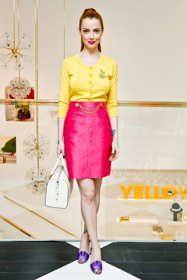 julia petit - petiscos - lovely yellow with broach tucked into a pencil skirt and leerrve the purple shoes!