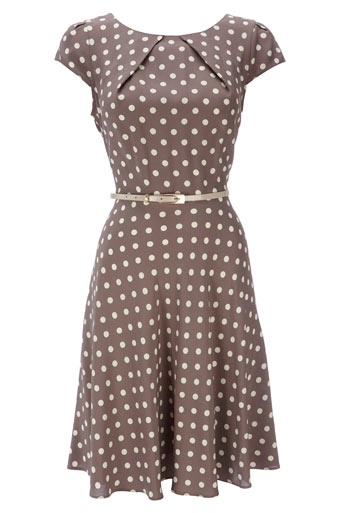 TAUPE SPOT PRINT BELTED DRESS from Wallis