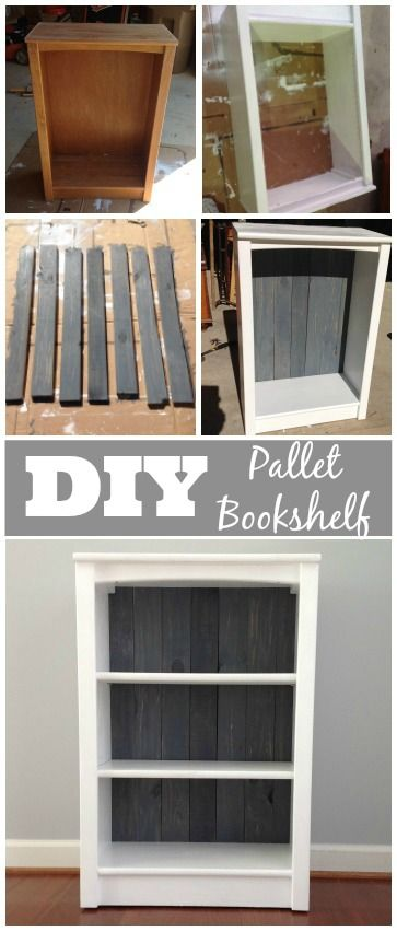 DIY Pallet Bookshelf Makeover - Turn that boring old bookshelf into a mix of modern and rustic