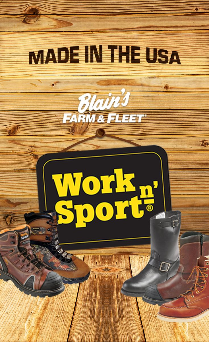 Shop American-Made for the 4th – just look for the American Flag Tag in select Work n' Sport boots – only at Farm & Fleet.
