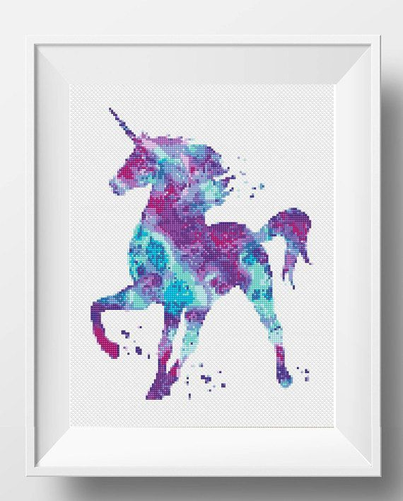 Unicorn Cross Stitch Pattern Horse Embroidery Chart Watercolor