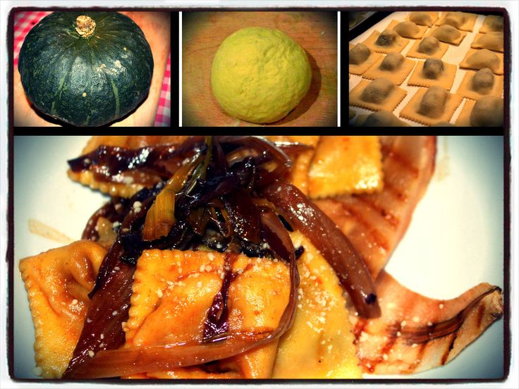 tortelli di zucca fatti in casa su letto di pere grigliate con porri e radicchio in agrodolce
