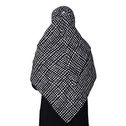 Black Colored Hijab with White Square and Rectangle Shapes Designed Scarf