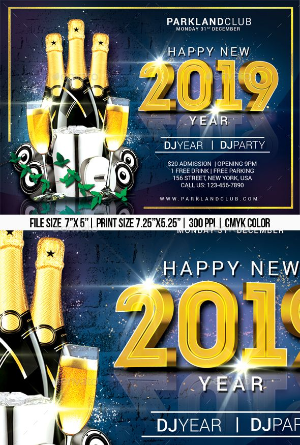 2019 happy new year flyer template psd