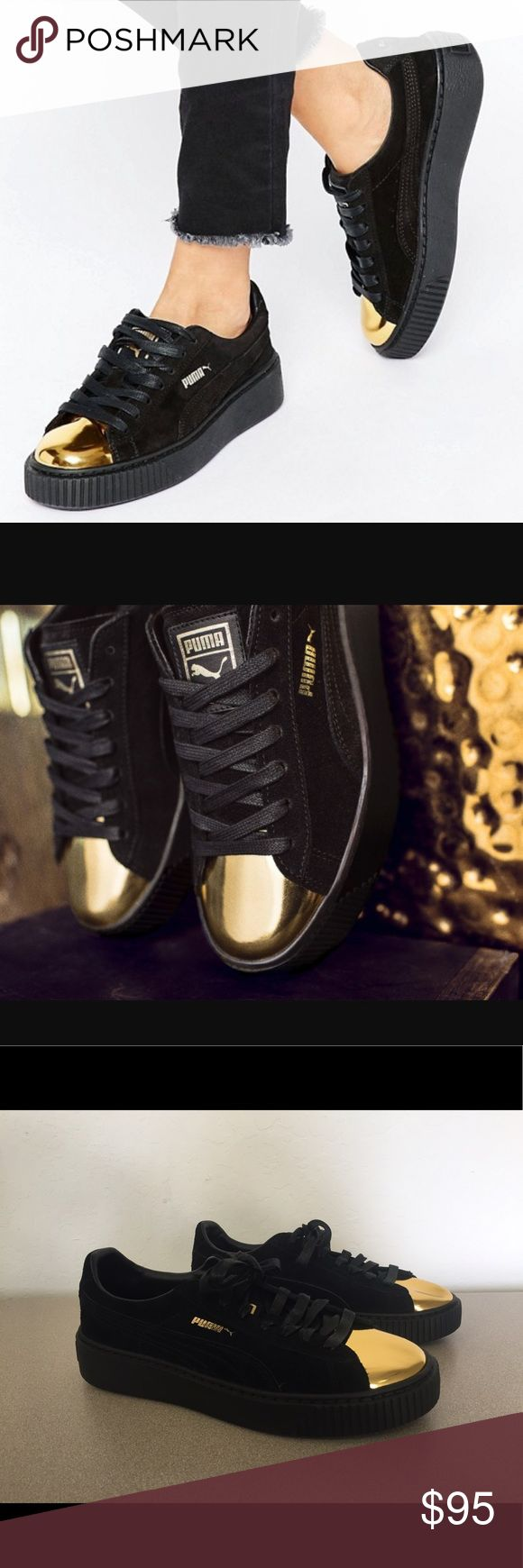 Puma Women's Suede Platform Gold Fashion Sneaker Brand : Puma  Style Code : 362222-02  Size : Women's 6.5  Color : Black/Gold  Material : Suede   BRAND NEW. NO BOX. NEVER WORN OR TRIED ON Puma Shoes Sneakers