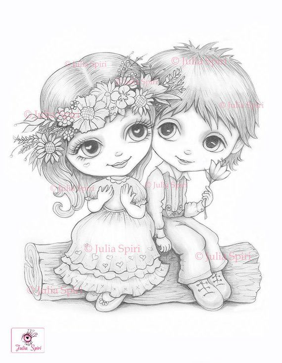 Love Coloring Pages Digital Stamp Digi Boy Girl Children Kids Boyfriend Girlfriend Crafting Craft Scrapbooking Be My Valentine Love Coloring Pages Cute Drawings Digital Stamps