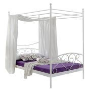 Home24 Angebote Himmelbett Alice Springs - Weiß - Bettgestell mit Matratze & Lattenrost, Home DesignIhr QuickBerater