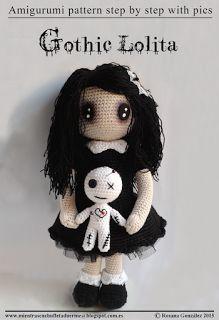 Patrón amigurumi lolita gótica con muñeco vudú.  Gothic lolita amigurumi with voodoo doll pattern.