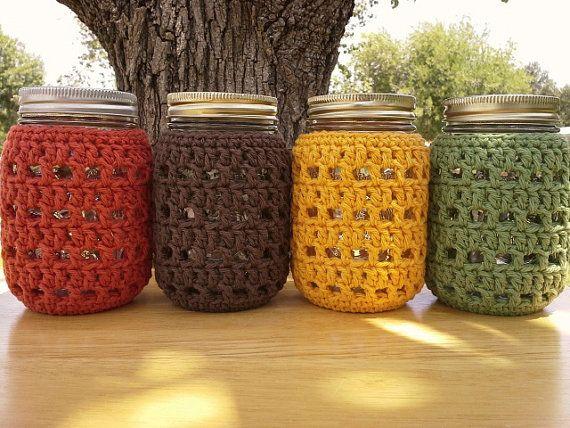 Crochet Mason Jar Cozy  Pint Sized Jar by CozyHandcraftsByCat