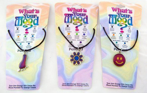 Whats Your Mood Color Change Pendant Necklace Set of 12 by DM Merchandising. Save 52 Off!. $19.99. Whats Your Mood Jewelry is a fun fashion to wear, and creates fun interaction for family and friends of all ages! This amazing collection is sure to delight anybody who loves to wear necklaces! We carry a collection of 12 pendants such as: star, cross, smile face, heart with rainbow, heart, angel, butterfly, peace sign, dolphin, whale, flower, and feet. Your own energy will ca...