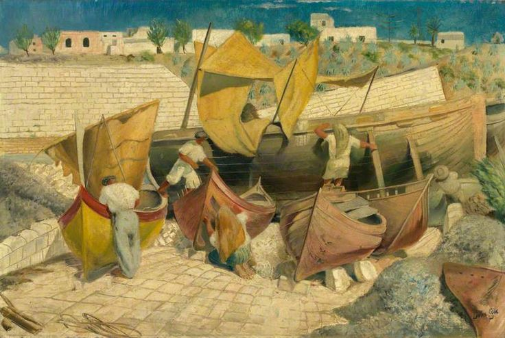 Leslie Cole - Maltese Fishermen Mending Bombed Dghaisas and Other Boats, 1943
