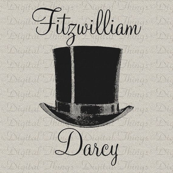 Jane Austen Pride and Prejudice Mr Darcy Top Hat Wall Decor Art Printable Digital Download for Iron on Transfer Tote Pillow Tea Towel DT1124...